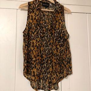 MINKPINK sleeveless leopard blouse top